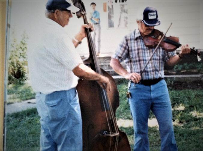 Father Amos on 1935         Kay Bass, Me on Fiddle