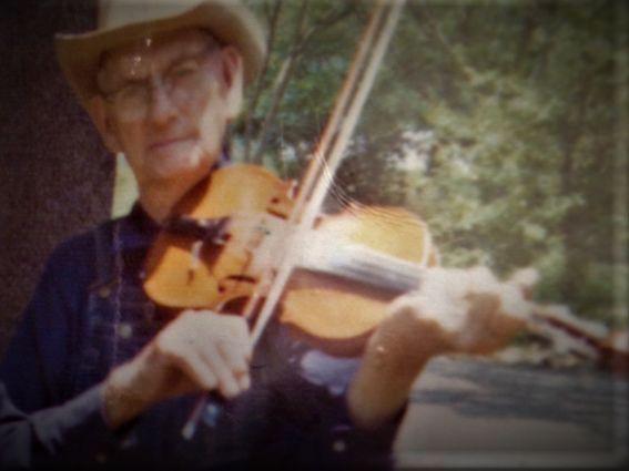 grandpa Eli Shepherd ....note blond fiddle, geared tuners